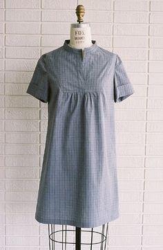 Summer Tova Dress in gray windowpane check cotton via wikstenmade