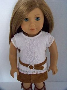 Leather and Lace:  Lined lace top, genuine suede skirt with matching suede belt with bling rhinestone buckle for American Girl Dolls. $27.00, via Etsy.