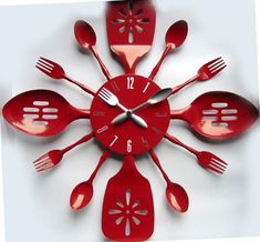 and Spoon Wall Clock cute kitchen clock.maybe smaller details thoughcute kitchen clock.maybe smaller details though Unusual Clocks, Cool Clocks, Unique Wall Clocks, Red Wall Clock, Wall Clock Design, Diy Clock, Clock Ideas, Kitchen Wall Clocks, Cute Kitchen