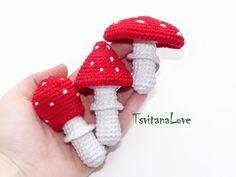 Crochet toadstool Amanita 1pc  crocheted mushroom  от TsvitanaLove