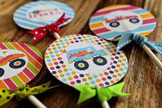 Girly Monster Trucks Theme - Printable Party Tags - Circles -Cupcake Toppers