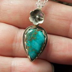 Nevada Turquoise and Sterling Silver Necklace by JRobergeJewelry, $110.00