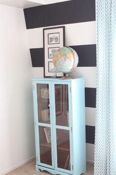 chalkboard paint black stripes with aqua accents.