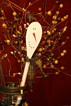Dollar Store Christmas Craft: Wooden Snowman Spoons