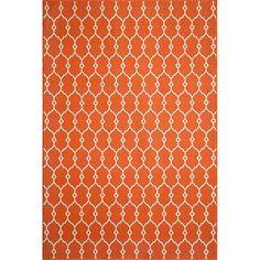 Indoor/Outdoor Fretwork Accent Rug - Orange (4'x5'6), Hyper Orange
