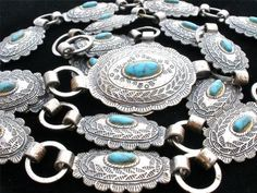 Auction ending today!!!!!!!!!...Signed Sanford Turquoise Blue Silver Southwestern Concho Belt Necklace Vintage  1