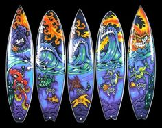 drew brophy painted Surfboards | Wish I could ride them all at once!