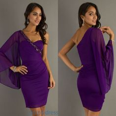 purple cocktail dress short flowy dresses homecoming gown 2013 one shoulder rhinestone neckline chiffon mini fluttering sleeve-in Cocktail Dresses from Apparel & Accessories on Aliexpress.com