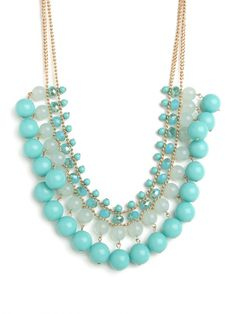 blue mint teal turquoise bead bib necklace