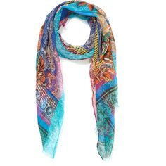 Etro Delhi Floral Paisley Blue Scarf ($225) ❤ liked on Polyvore featuring accessories, scarves, silk shawl, floral print scarves, etro scarves, floral scarves and silk scarves