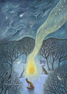 Karen Davis - a veil as thin as smoke This is a print of my original acrylic painting on wood. Art And Illustration, Illustrations, Clark Art, Smoke Art, Into The Fire, Fox Art, Winter Art, Yule, Whimsical Art