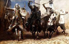 Mariusz Kozik. Caballeros templarios y hospitalarios cargando en las calles de Acre durante el sitio de 1291.  http://www.elgrancapitan.org/foro/viewtopic.php?f=87&t=16834&p=879395#p879386