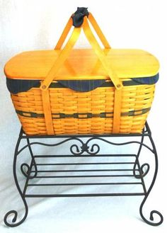 Longaberger 1999 Collectors Club Family Picnic Basket on Wrought Iron Stand. I OWNED THIS AND SOLD IT. WHAT WAS I THINKING?????