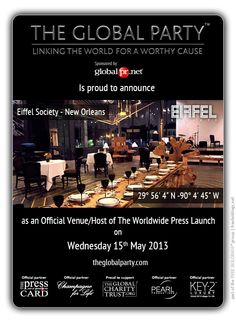 #EIFFEL SOCIETY will host the ##Press #Launch on the 15th May 2013.  As a #Journalist, #Blogger or #Media Correspondent to attend please click here: http://www.theglobalparty.com/venues/eiffel-society/