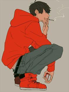 аниме мальчик, matsuno osomatsu, балахон, иллюстрации, курение