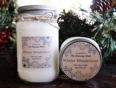 Winter Wonderland Pure Soy Candle//Christmas Candle//Mason Jar Candle//Winter Candle//Christmas Gift//Snowflake Candle//Christmas Decor//