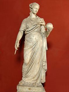 Female figure restored as the Muse Urania, Roman statue (marble), copy after Greek originals, head and body do not belong, ? (originals 4th c. BC), (Musei Vaticani, Vatican City).