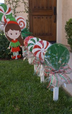 Wooden Christmas Lollipops for your yard! -Cute and Sparkly -UV Protected Perfect for Christmas or Candyland theme parties! The small lollipops stand 20 inches tall. -Set of 4 lollipops: $60 (1 solid green, 1 solid red, 1 red/white and 1 green/white) Christmas is right around the corner