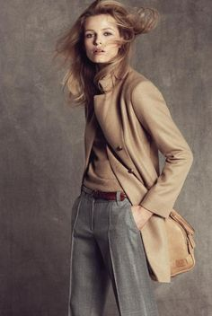 Camel and gray go together like wool and cashmere. Just the thought of them makes me happy.