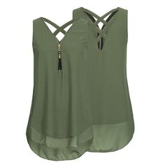 Stand out in a crowd with these beautiful Sleeveless Tassels Chiffon Tank Top. that will surely make you more attractive and in style, also fashionable and can pair with any jeans, skirts and leggings. What are you waiting for grab yours now. Specification: Material: Chiffon Sleeve Length: Sleeveless Neckline: V-Neck Color: Black, White, Red, Green, Pink Size: S, M, L, XL, 2XL, 3XL, 4XL