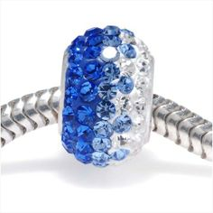 STERLING SILVER CRYSTAL PAVE LARGE HOLE EUROPEAN STYLE BEAD 12X75MM SAPPHIRE RAINBOW from beadaholique.com