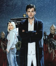 The 10th Doctor (David Tennant) and Rose Tyler (Billie Piper) - THE CHRISTMAS INVASION for Christmas of 2005.