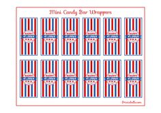 Free 4th of July Printable Mini Candy Bar Wrappers