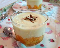 Crema di ricotta al latte di mandorla (fatto in casa) con pesche al maraschino