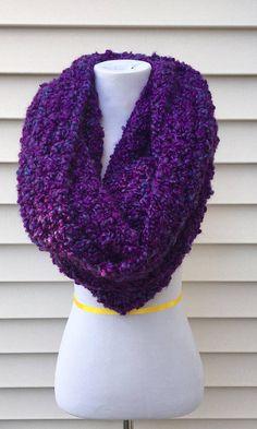 THE ALASKAN •• oversized chunky infinity scarf, large infinity scarf, purple chunky scarf