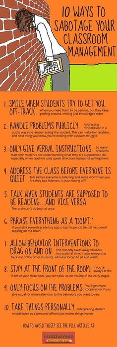 For my student teacher: 10 Ways to Sabotage Your Classroom Managment: If you are having classroom management problems, take a look at this article, which explains what NOT to do, and the more effective practices you should try instead. Classroom Management Techniques, Classroom Behavior Management, Classroom Behaviour, Behaviour Management Strategies, Classroom Discipline, Behavior Plans, Student Behavior, Behavior Charts, Teaching Strategies