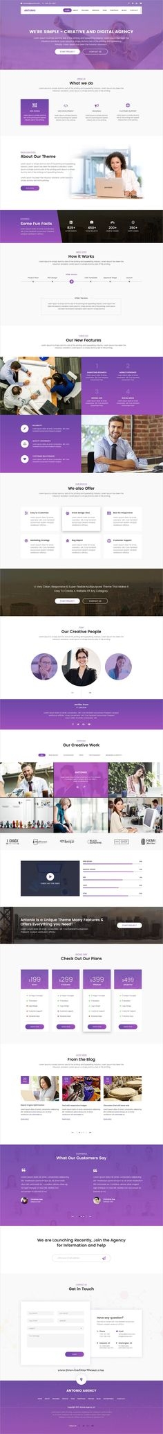 Antonio is clean and modern design #PSD template for creative #onepage digital #agency website to live preview & download click on Visit
