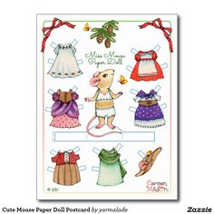 MISS MOUSE Paper Doll Postcard