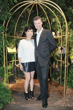 Sandra Choi and Pierre Denis at the Jimmy Choo's spring '14 Milan presentation. [Photo by Giovanni Giannoni]