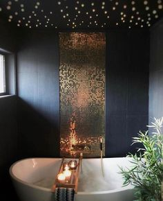 Black and Gold Bathroom Decor Luxury Black Gold and Mosaiced Up Were In Love Best Bathroom Designs, Contemporary Bathroom Designs, Bathroom Interior Design, Bathroom Ideas, Bathroom Organization, Interior Livingroom, Bathroom Inspo, Bathroom Wall, Bathroom Gray