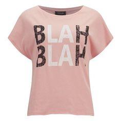 VILA Women's BLAH T-Shirt - Apricot Blush ($10) ❤ liked on Polyvore featuring tops, t-shirts, shirts, t shirt, tees, pink, short-sleeve shirt, short sleeve shirts, cotton t shirts and loose fitting t shirts