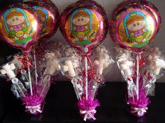 primera comunión centros de mesa si encuentro los globos!!!!