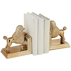 Keep your books organized in style with this lovely poodle dog bookend set.