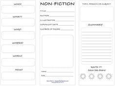 Nonfiction student ready to print worksheet in trifold format. FREE