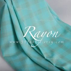 Turquoise Challis Rayon fabric Gingham