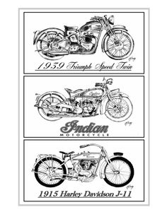 MOTORCYCLE Print from my original drawings 39 by southcoaststudio, $24.00