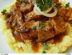 Výpečky na smažené cibuli, hrubozrnné hořčici a medu recept - TopRecepty. Food And Drink, Pork, Cooking Recipes, Beef, Chicken, Kitchen, Goulash, Red Peppers, Kale Stir Fry