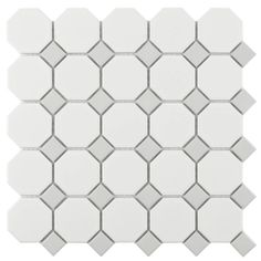 Octagonal Porcelain Mosaic Tile White & Grey for the kitchen backsplash, bathroom, and shower walls. Modern Master Bathroom, Grey Bathrooms, White Bathroom, Small Bathroom, Bathroom Showers, Master Shower, Classic Bathroom, Shower Floor Tile, Bathroom Floor Tiles