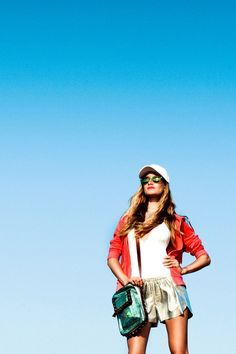 { Wild At Heart } -  Lacoste hat, Westward\\Leaning sunnies, Juicy Couture necklace and track jacket, OndadeMar swimsuit, Clover Canyon leather shorts, Nanette Lepore bag