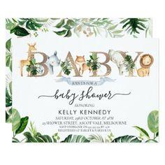 Boy Baby Shower Themes, Gender Neutral Baby Shower, Baby Shower Decorations, Boy Shower, Safari Theme Baby Shower, Elegant Baby Shower, Safari Animals, Baby Animals, Baby Shower Invitations