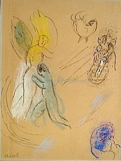Study To Jacob Wrestling With The Angel by Marc Chagall