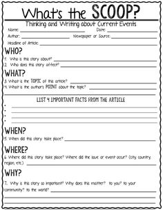 What's the Scoop?-Thinking and Writing about Current Events