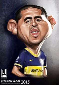 "CARICATURAS DE FAMOSOS: ""Juan Román Riquelme"" por Federico Yaggi Cartoon Pics, Cartoon Characters, Celebrity Caricatures, Twin Brothers, Cartoon Design, Soccer Players, Mickey Mouse, Ford, Animation"