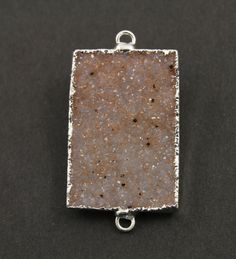 Druzy Rectangle Connector Earth Tones Double Bail by Beadspoint