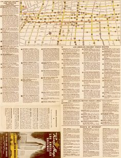Route Map, Los Angeles Railway Electric Car and Bus Routes, 1942