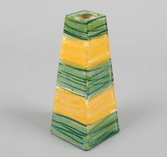 PETER SHIRE / ECHO PARK: Hand-Painted Vase, Yellow & Green